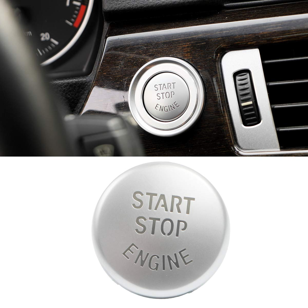 Fits: BMW 1 2 3 4 5 6 7 X1 X3 X4 X5 X6 Series 2010-2016 Chrome-plated Start Stop Engine Switch Button For BMW,Jaronx Engine Power Ignition Start Stop Button Replacement