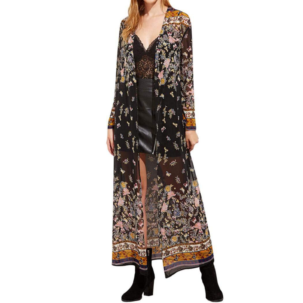Lonshell_Kimono FEITONG, Kimono da Donna a 3/4 Maniche, Lungo, Bohemia, Motivo Floreale, Oversized, Casacca Coprispalle