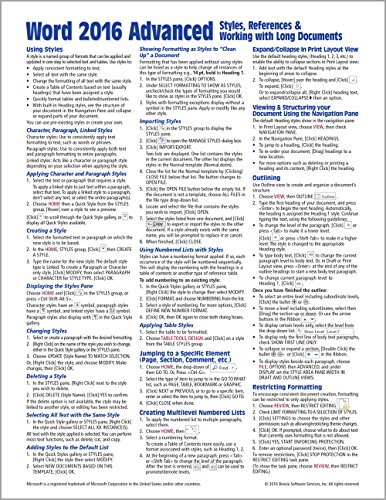 Microsoft Word 2016 Advanced Quick Reference Guide...