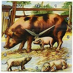 3dRose dpp_183362_1 Three Little Pigs Cartoon Wall Clock, 10 by 10