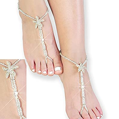 a56400eb32bd88 Image Unavailable. Image not available for. Color  Beaded Bridal Barefoot  Sandals