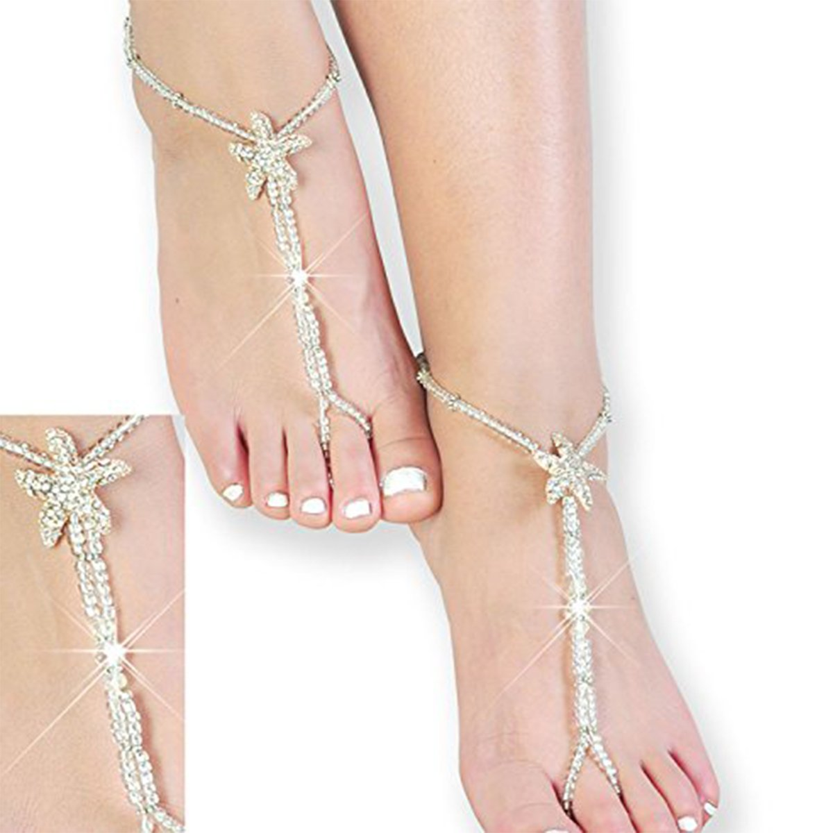 Beaded Bridal Barefoot Sandals,Wedding Anklet,Crystal Sandals,Bridesmaid Gift by Fine Lady (Image #1)