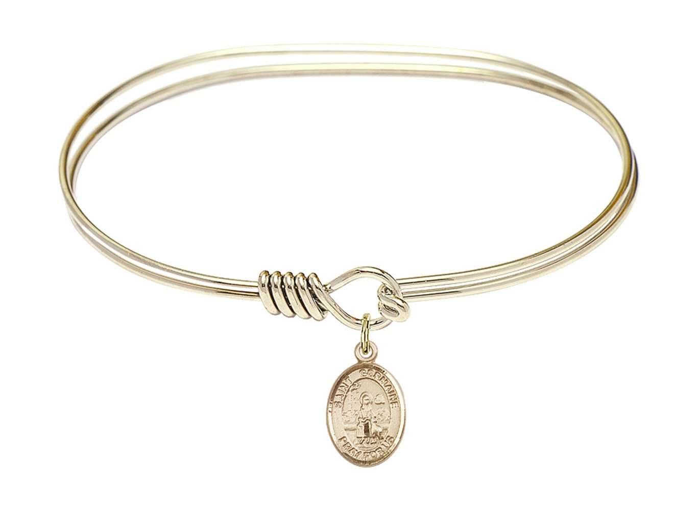 St. Germaine Cousin Charm On A 7 Inch Oval Eye Hook Bangle Bracelet