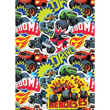 (Blaze And The Monster Machines 2 Sheets Of Gift Wrap And 2 gift Tags)