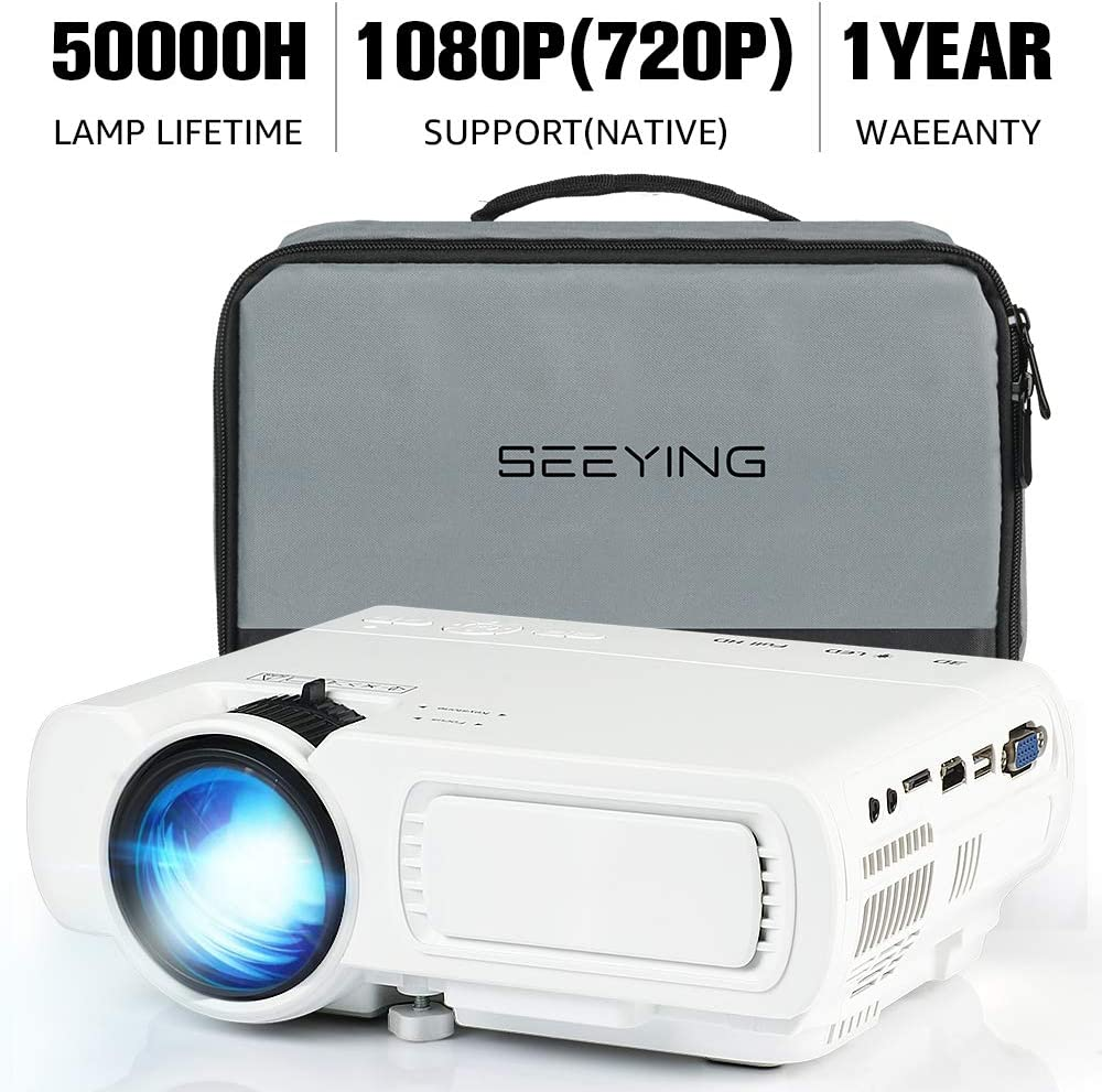 Video Projector,SeeYing 3600Lux Portable Mini Projector,1080P and 170'' Display Supported,Compatible with TV Stick,HDMI,VGA,USB,TV,Laptop,DVD (T5-White)