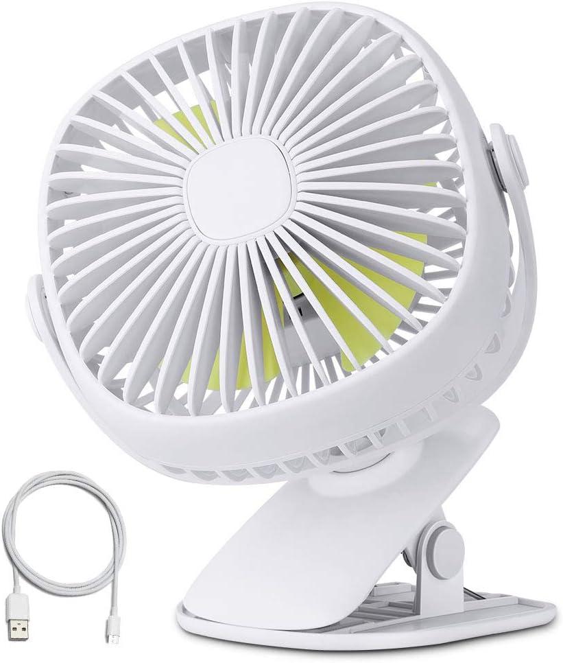 Orange Tech USB Clip Desk Personal Fan with Night Light, Table Fans,Clip on Fan,2 in 1 Applications, 5.7 inch 3 Speed Portable Cooling Fan USB Powered for Baby Stroller, Travel
