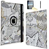 iPad Air Case, JYtrend (R) Rotating Stand Smart Case Cover Magnetic Auto Wake Up/Sleep For iPad Air (Air 1) A1474 A1475 A1476 (Map)