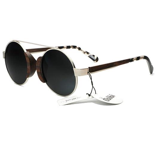 8d5b19caa6d Ablibi Vintage Lennon Style Polarized Circle Sunglasses Men s Ozzy Elton Hippie  Round Small Retro Design Wood
