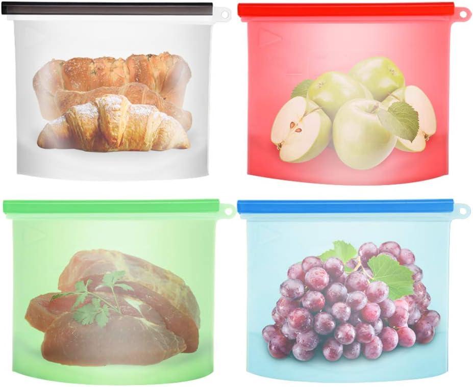 4 Unids 1500 ml de Silicona Reutilizable Bolsa de Almacenamiento de Alimentos craftsman168 Sellado Resistente a Fugas Contenedor de Preservaci/ón de Alimentos para Frutas Carne Frigor/ífico