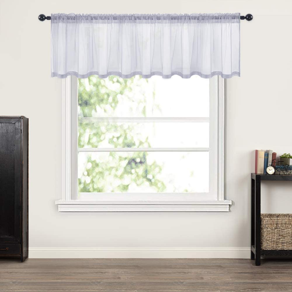 MIULEE Window Valance Half Window Sheer Curtains Rod Pocket Semitranslucent Voile Drapes Extra Wide for Small Window Kitchen Cafe One Panel 60 x 18 Inch Greyish Lilac