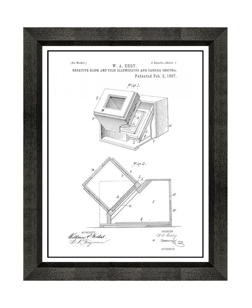 Negative Slide And Film Illuminator Camera Obscura Diagram Patent Art White Matte Print With A Border In Beveled Black Wood Frame 16 X 20