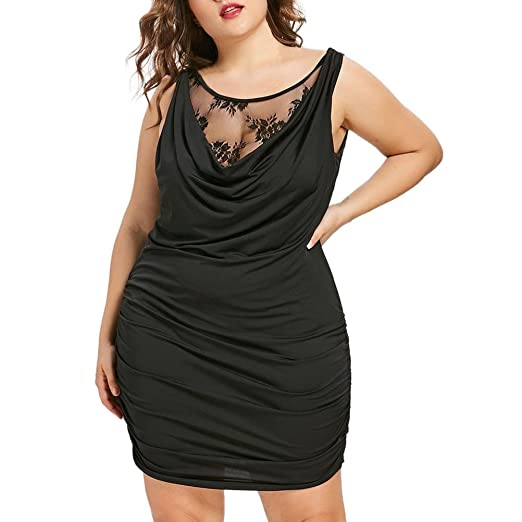 41ee578556a Nevera Women Sexy Plus Size Lace Panel Stitching Draped Drawstring Ruffled  Club Dress (L