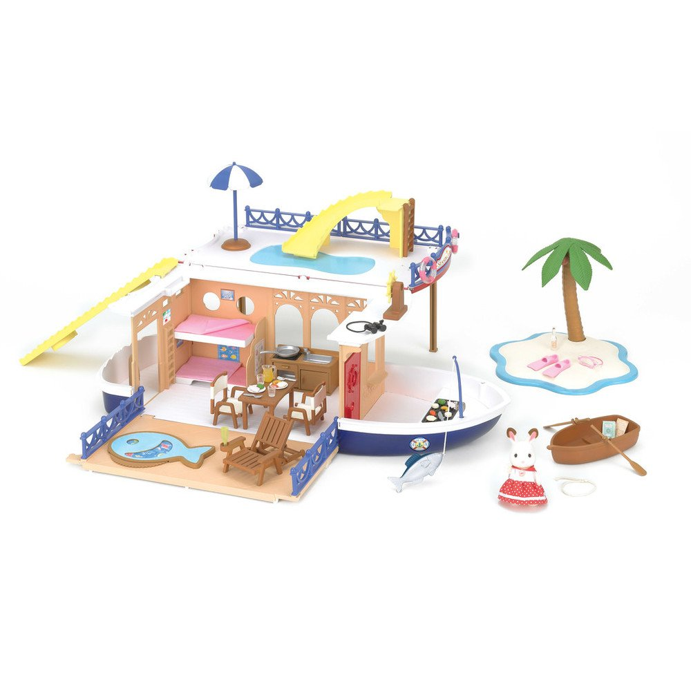 amazon com calico critters seaside cruiser houseboat toys u0026 games