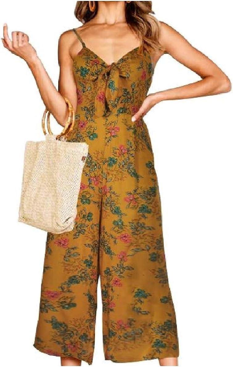Winwinus Womens Knot Print Sling Summer Wide Legs High Waisted Jumpsuits Romper
