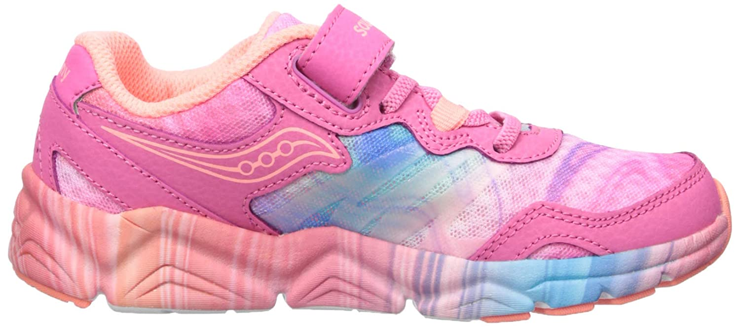 110 Extra Wide US Little Kid Pink//Multi Saucony Unisex-Kids Flash A//C Sneaker
