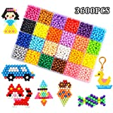 Fuse Beads, 24 Colors 3600 Water Spray Beads Set Water Sticky Beads with 48 Pegboard Full Set Art Craft Toys for Kids Beginners.(3600 Beads Complete Set)