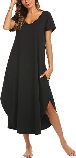 Womens Plus Size Short Sleeve Cotton Nightgown Sleep Dress//Sleepwear,2X,Black