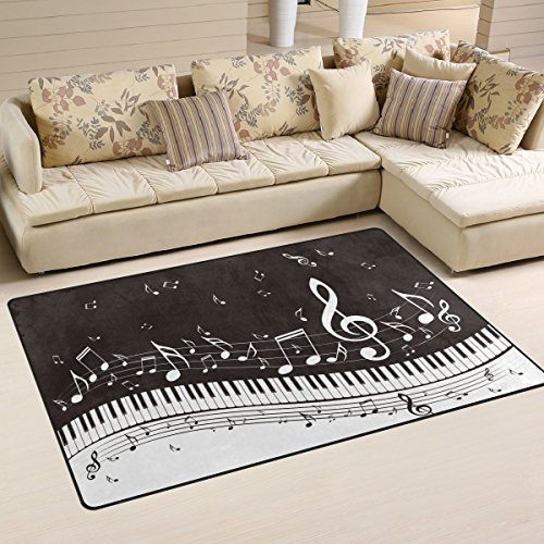 Naanle Music Area Rug 3'x5', Abstract Piano Keys Musical Notes Polyester Area Rug Mat for Living Dining Dorm Room Bedroom Home Decorative