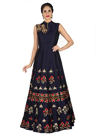 393b2f50ae Queen of India Women s Taffeta Silk Embroidered Semi-Stitched Anarkali Gown