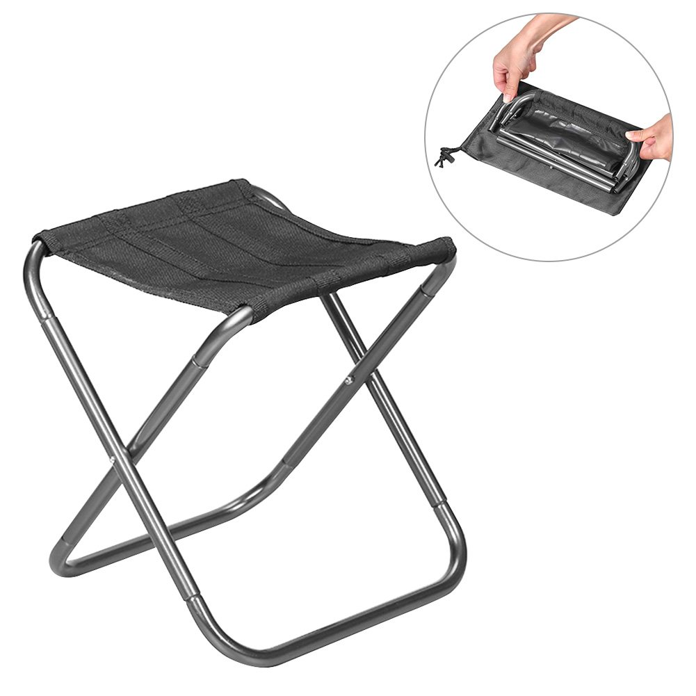 SHZONS Camping Stool, Folding Aluminum Alloy Portable Entertainment Fishing Seat Road Camping Chair BBQ Stool for Hiking Fishing Travel Backpacking,10.63×10.04×9.06 in