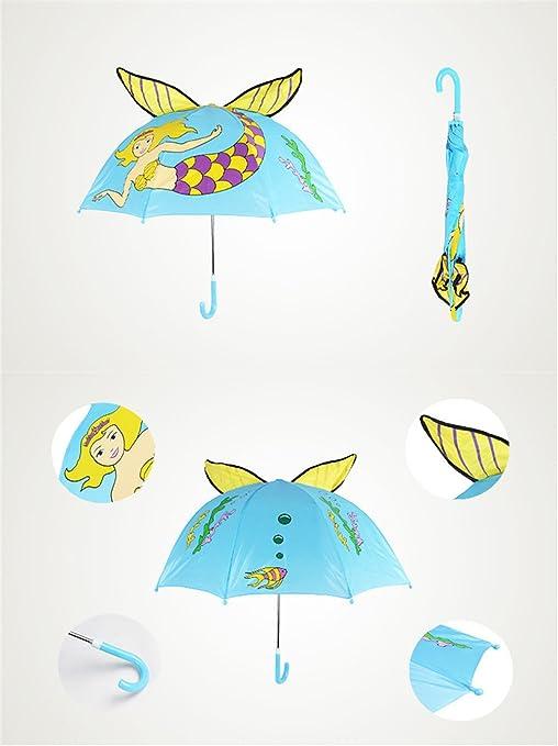 Paraguas de dibujos animados lindo para los niños Sirena