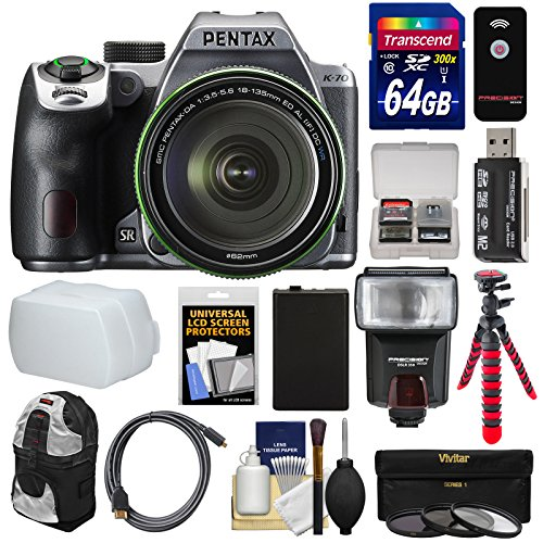 Pentax K-70 All Weather Wi-Fi Digital SLR Camera & 18-135mm WR Lens (Silver) with 64GB Card + Backpack + Flash + Battery + Tripod + Filters + Remote + Kit Pentax Slr Flash