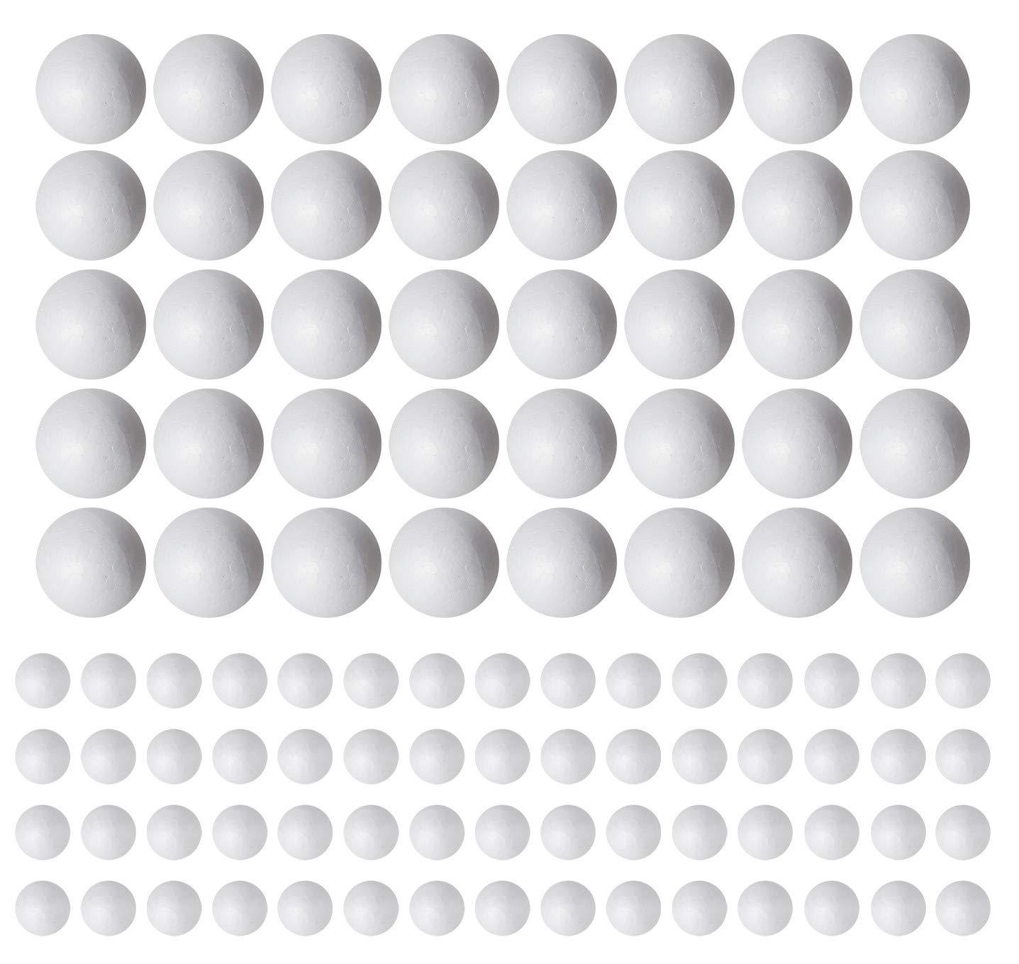 100 Pack Styrofoam Balls (40 Piece 2'' Inch, 60 Piece 1'' Inch) -Foam Balls- Foam Craft Balls - Foam Balls für Arts und Crafts- Floral Foam Balls- Bulk Styrofoam Balls-1 & 2 Zoll Foam Balls (100 Pack)