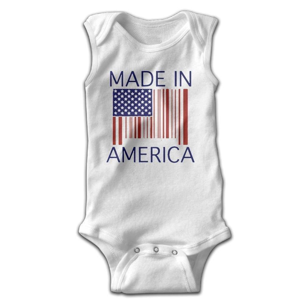braeccesuit Made in America Baby Newborn Crawling Clothes Sleeveless Romper Bodysuit Onesies Jumpsuit White