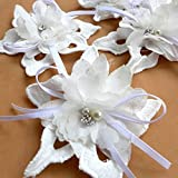 11.5cm handmade 3D flower off white chiffon with rhinestone applique patch diy sew-on accessorids 20 pieces/lot