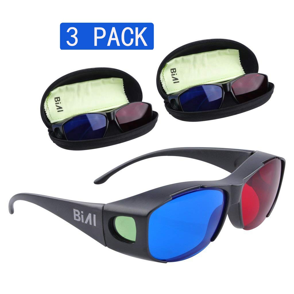 BIAL Red-Blue 3D Glasses with Glasses Case/Cyan Anaglyph Simple Style 3D Glasses 3D Movie Game-Extra Upgrade Style (3PCS)