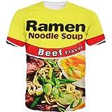 Harajuku Unisex Funny 3D Printed Ramen Noodle Soup T Shirt Men Women Clothes Camisetas (M