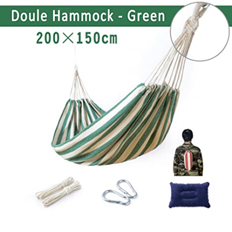 Outdoors Portable Camping Parachute Sleeping Double Hammock Garden Swing Hammock Hanging Bed Travel Camping Swing Canvas Stripe Sports & Entertainment