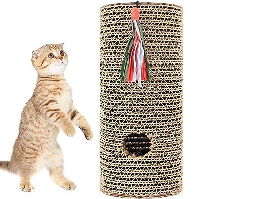 Cxjff Forma cilíndrica Cat Scratching Post Scratch Board Scratche Toy Puzzle Rock Juego de Mesa con Pelota: Amazon.es: Productos para mascotas