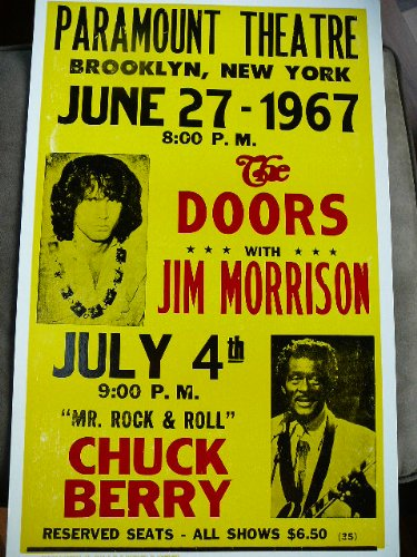 The Doors Concert Poster - The Doors with Jim Morrison and Chuck Berry 1967 Concert Poster