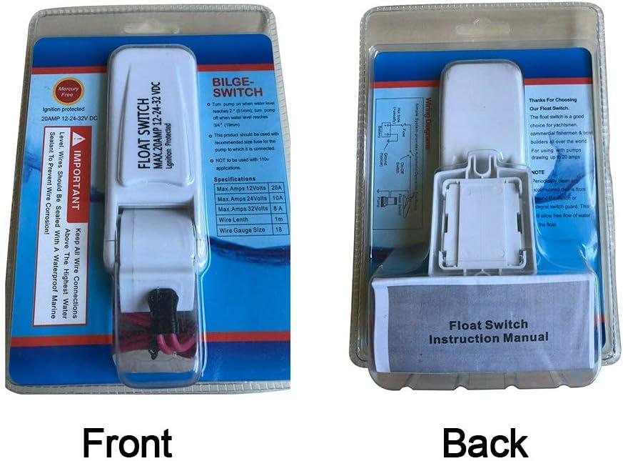 Cleme - Interruptor de Flotador CC para Bomba de sentina (12 V, 24 V, 32 V, Encendido automático, eléctrico, Control de Barco, a Prueba de Fugas