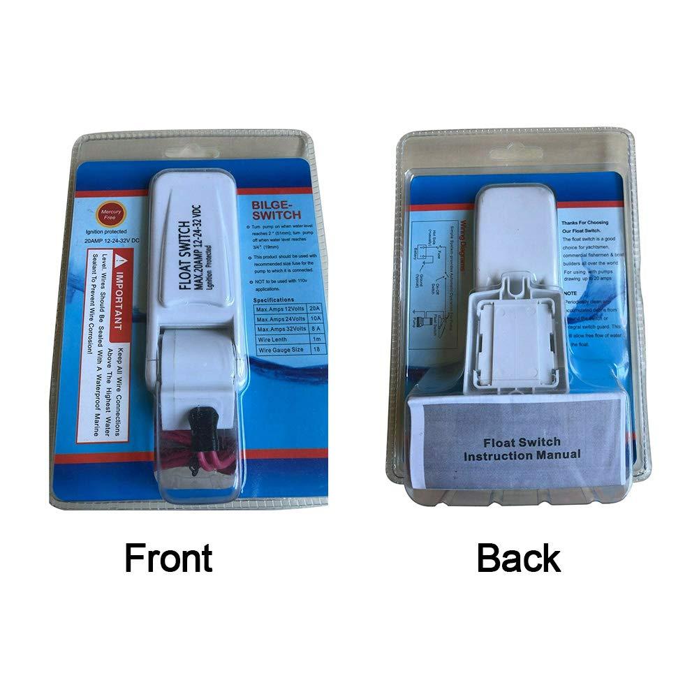 QLING Interruttore a Galleggiante Regolatore Automatico Elettrico Marino Impermeabile a Tenuta stagna DC Livello dellAcqua Portatile per Pompa di sentina 12V 24V 32V Sensore di Flusso Barca