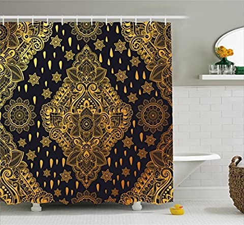 Gold Mandala Shower Curtain by Ambesonne, Bohemian Paisley Ornament Folk Henna Tattoo Style Indian Tribal Vintage, Fabric Bathroom Decor Set with Hooks, 84 Inches Extra Long, Gold and (Indian Gold Ornaments)