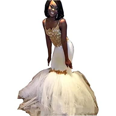 28c4b6e8cd Chady Sexy White and Gold Appliques Prom Dresses 2019 Spaghetti Straps Mermaid  Formal Ruffles Evening Dresses