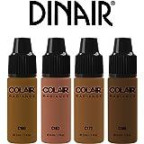 MINI Size Bottles Sample Airbrush Makeup Foundation   4pc DARK Shades Mini Size Set   Colair Radiance: Satin   Size 3ml / 0.1 oz by Dinair