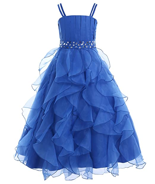 Freebily Girls Organza Flower Girl Dress Princess Pageant Wedding Bridesmaid Birthday Party Dress Blue 4