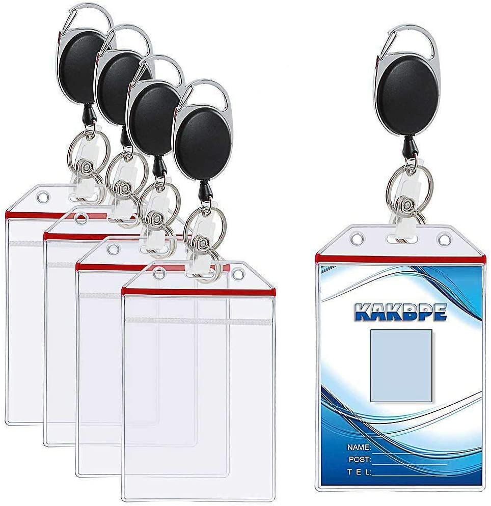 Kakbpe Vertical Heavy Duty Id Badge Holder Bus Card Holder with Retractable Carabiner Reel Clip for Office Company Employee School Student Bus Pass Id Card Clear Badge Holder