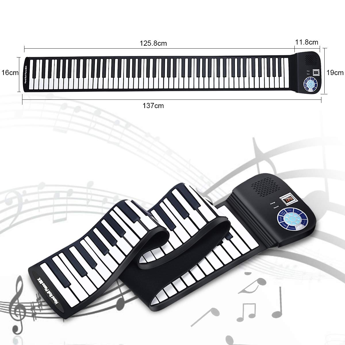 Safeplus Piano Keyboard 88 Keys Touch Sensitive Portable Keyboard with Power Supply by Safeplus
