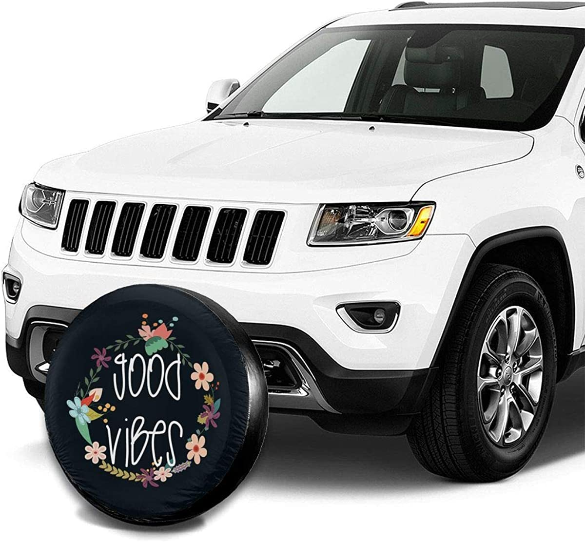 MSGUIDE Spare Tire Cover Good Vibes for Jeep Trailer Rv Truck 14 15 16 17 Inch Sunscreen Dustproof Corrosion Proof Wheel Cover