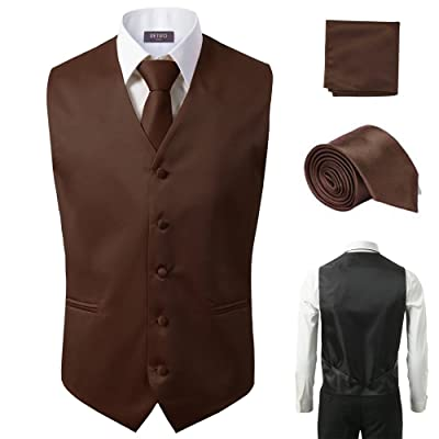 3 Pcs Vest + Tie + Hankie Brown Fashion Men's Formal Dress Suit Waistcoat