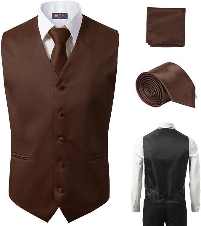 Amazon.com: 3 piezas chaleco + corbata + pañuelo marrón moda ...