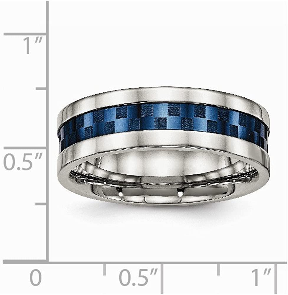 FB Jewels Solid Stainless Steel Polished Blue Ip-Plated 7.00mm Wedding Band