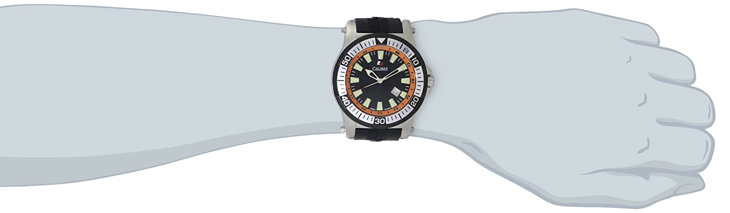 Calibre Men s SC-4H1-04-007.079 Hawk Stainless Steel and Black Rubber Watch