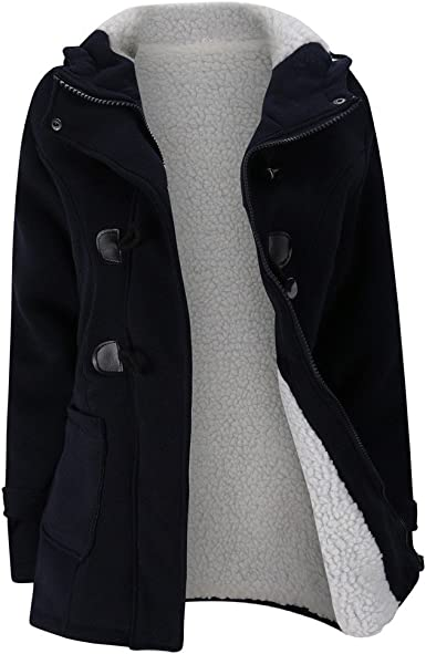 Women/'s Hooded Pea Coat Jackets Overcoat Thicken Slim Fitted Outerwear Plus Size