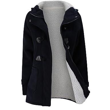 DOGZI Abrigo Mujer Invierno,Talla Grande Hebilla de Cuero Cuerno Chaqueta de Lana Abrigo Chaqueta