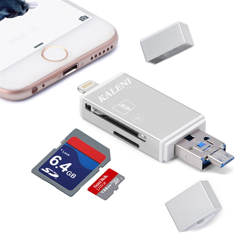 KALENI SD Card Reader, 3 in 1 USB Flash Drive with Lightning Micro SD &TF Card Reader Adapter Compatible with iPhone iPad Mac Android (Silver)